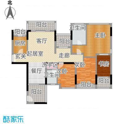 招商观园164.00㎡二期8-9栋E-F型奇数层4房2厅2卫164㎡设计平面户型4室2厅2卫
