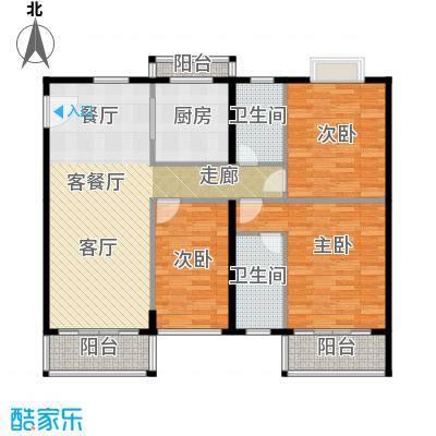世纪新潮豪园117.08㎡标准层F户型3室1厅2卫1厨
