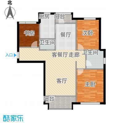 红星海世界观125.00㎡青屿蓝18#高层户型3室1厅2卫1厨