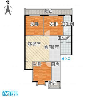 兴谷家园134.12㎡三室一厅两卫户型
