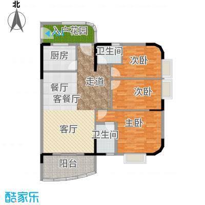 丽湾花园110.06㎡户型3室1厅2卫1厨