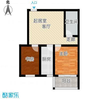 楚天书香门第户型2室1卫1厨