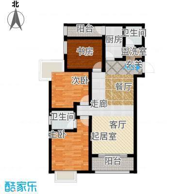 华城泊郡二期108.00㎡4#D3-3户型 三室两厅两卫 赠9平 主卧浴室 入户玄关户型
