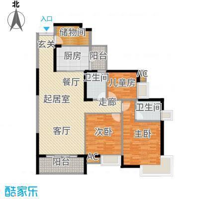 湖滨壹号127.00㎡C户型3室2厅2卫QQ