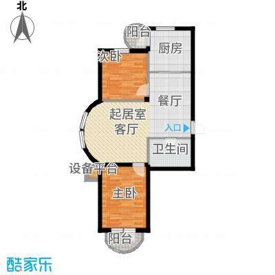 香洲心城三期户型2室1卫1厨