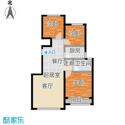 北京城建徜徉集92.00㎡H户型3室1卫1厨