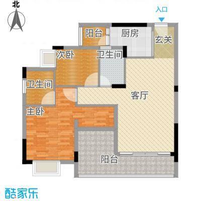日出观山A1栋标准层02单位户型2室1厅2卫1厨