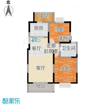 越湖名邸92.00㎡A1户型两房两厅一卫92平米户型2室2厅1卫
