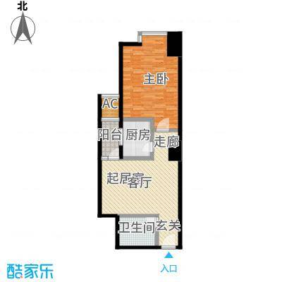 正尚国际公寓E户型1室1卫1厨