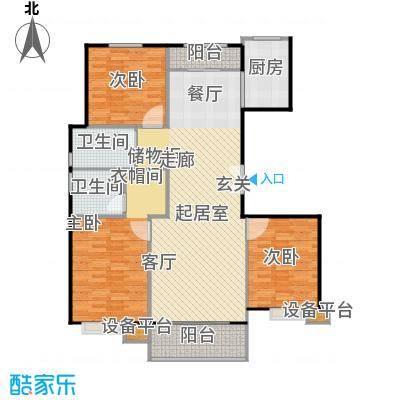 北环盛世149.89㎡2#楼1单元西户户型3室2厅2卫