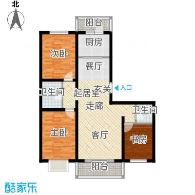 水榭花都118.00㎡L户型三居室户型3室2厅2卫