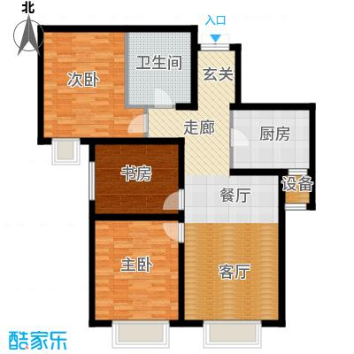 天津大都会120.00㎡C系-B户型 两室两厅一卫户型2室2厅1卫