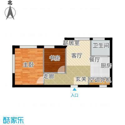 海派优座66.00㎡二房一厅一卫户型