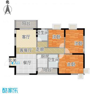 鼎盛中环119.46㎡户型3室1厅2卫1厨