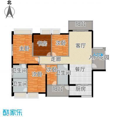 龙泉豪苑二期E1#-2#标准层户型5室1厅3卫1厨