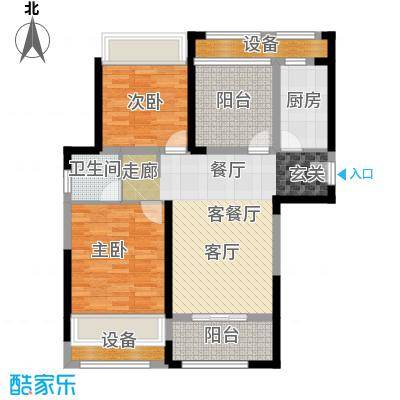中奥珑郡89.00㎡A户型2室2厅1卫+空中花园89平米户型3室2厅1卫