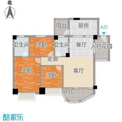 龙福花园户型3室1厅2卫1厨