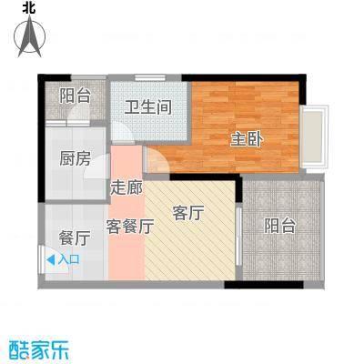 迪纳酒店公寓53.16㎡户型1室1厅1卫1厨