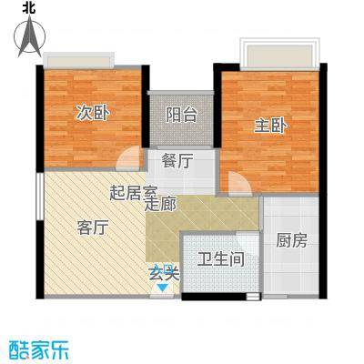 东海阳光户型2室1卫1厨