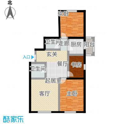 秀月佳苑117.21㎡F户型三室二厅二卫户型3室2厅2卫-T
