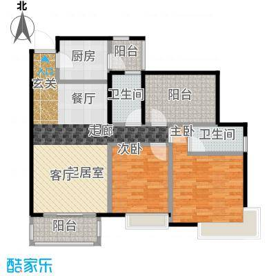 富山居花园99.00㎡11、12栋B户型2室2卫1厨
