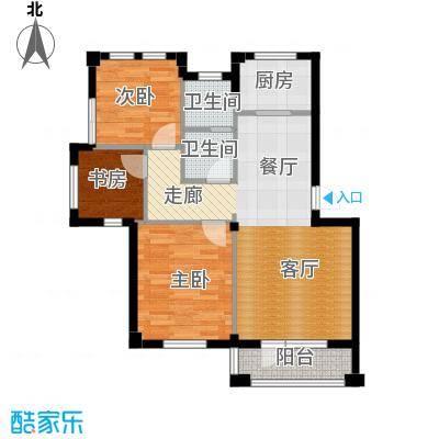 运达诺维溪谷89.00㎡A2 三室二厅一卫户型3室2厅1卫