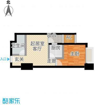 正尚国际公寓54.68㎡正尚国际公寓户型图A(5/9张)户型1室1厅1卫