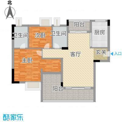 日出观山A4栋标准层04单位户型2室1厅2卫1厨