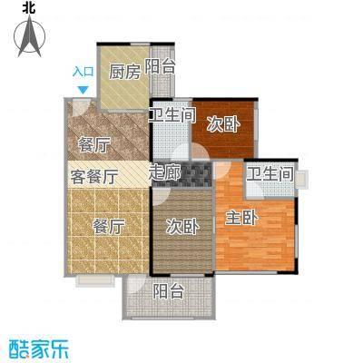 丹梓龙庭A栋C奇数层户型3室1厅2卫1厨