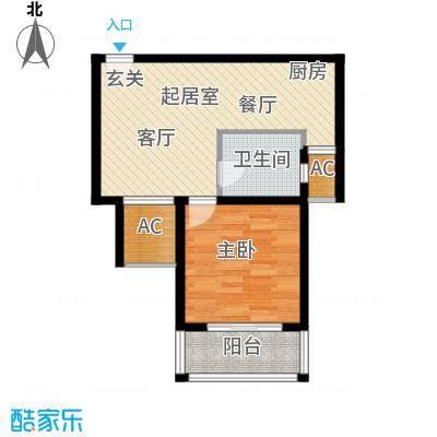 红鼎湾花园55.00㎡B户型1室2厅1卫QQ