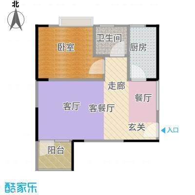 中惠香樟半岛53.00㎡14#02户型1厅1卫1厨