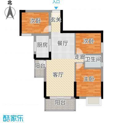 富盈盈翠曦园75.65㎡户型3室1厅1卫1厨