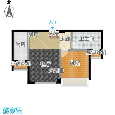 连海金源62.00㎡一室二厅一卫户型1室2厅1卫