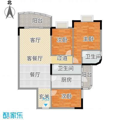 丽湾花园115.67㎡户型3室1厅2卫1厨