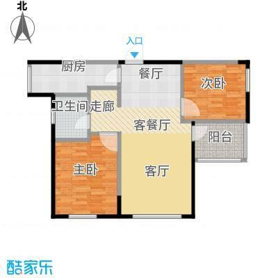朗诗绿色街区B1'户型2室1厅1卫1厨
