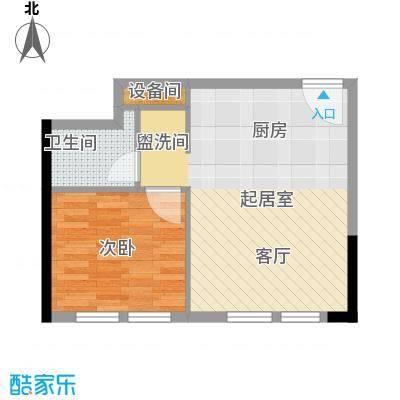 邦泰国际公寓55.62㎡20层04单元户型1室1卫