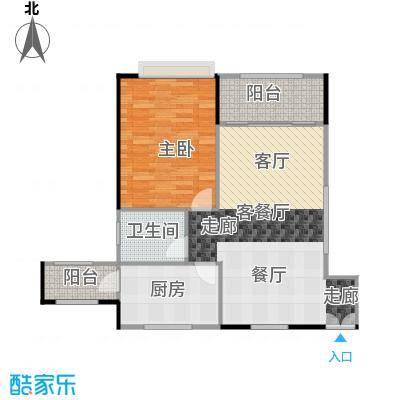 嘉裕丹顿阳光B座3-28层05单位户型1室1厅1卫1厨