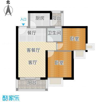 中惠丽阳时代二期62.93㎡户型1厅1卫1厨
