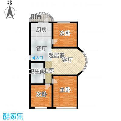 香洲心城三期117.00㎡21、22#C户型3室2厅1卫1厨 117户型3室2厅1卫