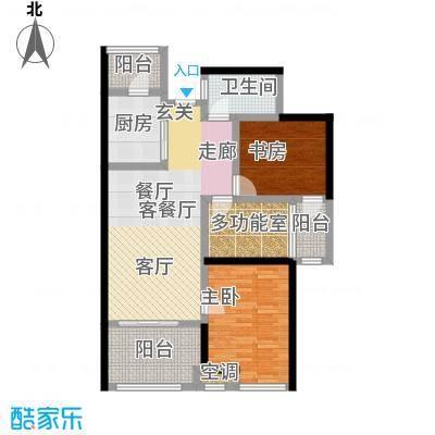 阳光龙庭93.00㎡早期销售的B户型 93平米 2+1室2厅1卫户型2室2厅1卫