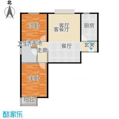 京投万科新里程89.00㎡B睿雅居户型2室1厅1卫1厨