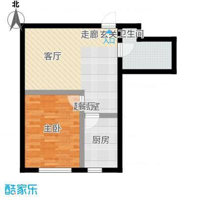 秀月佳苑62.79㎡C户型 一室二厅一卫户型1室2厅1卫