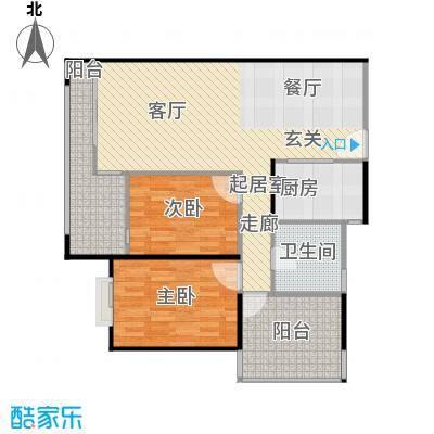 莲湖四季豪园93.57㎡户型2室1卫1厨