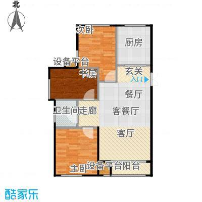 海航YOHO湾96.80㎡F户型三室一厅一卫96.8平米户型图户型3室2厅1卫