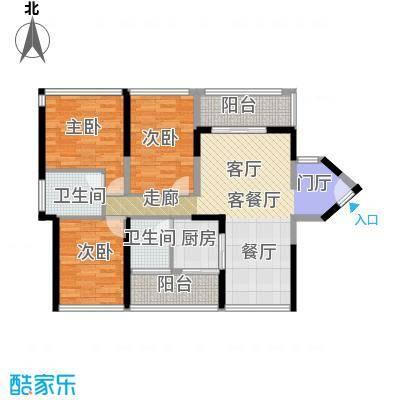 怡安皇庭100.00㎡A1户型3室1厅2卫1厨