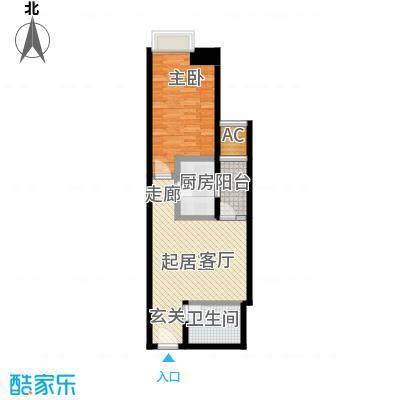 正尚国际公寓D户型1室1卫1厨