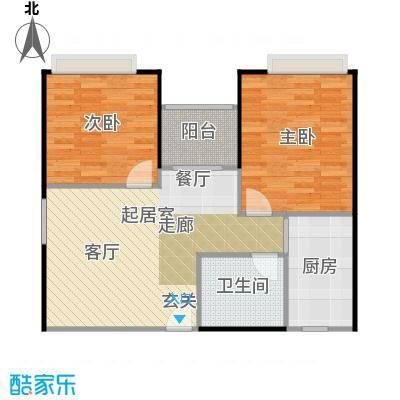 东海阳光67.36㎡户型2室1卫1厨