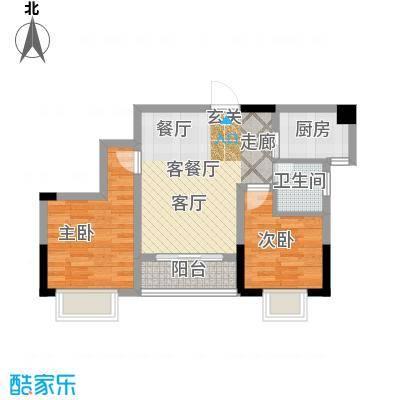 攀华未来城一期A5、A6栋标准层4号房户型2室1厅1卫1厨