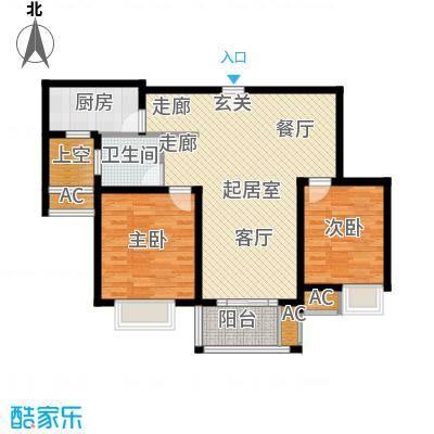 红鼎湾花园89.00㎡F户型2室2厅1卫QQ