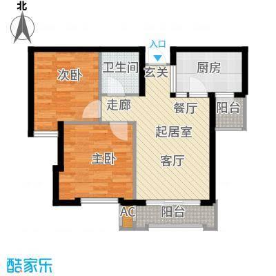 颐泊湾83.00㎡B-2二室一厅户型图户型2室1厅1卫QQ
